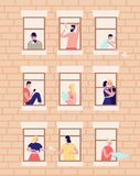 Neighbors and neighborhood. Exterior of building with opened windows and people living inside. Men and women drinking royalty free illustration