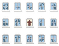 Neighbors Noise Windows. Neighbors that make various kinds of noise, in the middle window an annoyed man covers his ears. Isolated vector illustration on white Stock Photo