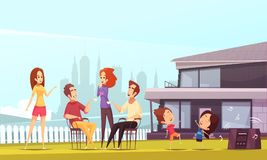 Neighbors Party Cartoon Illustration Stock Photography