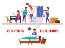 Neighbors Relations Cartoon Composition. With piano and drill sounds, family conflict, flooding, unhappy sleepless man vector illustration Stock Photo