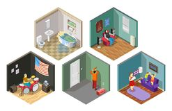 Neighbors Relations Isometric Compositions Set. Neighbors relations set of isometric compositions with repair, flooding, spoiled kids, loud music isolated vector Royalty Free Stock Photos