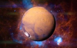Planet Mars in front of a colourful nebula  3d space illustration, elements of this image are furnished by NASA. Neighbour planet Mars in beautiful space scene Stock Images