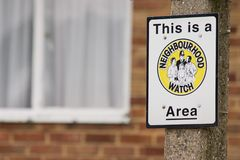 Neighbourhood watch area sign stock images