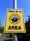 This is a Neighbourhood Watch Area sign royalty free stock images