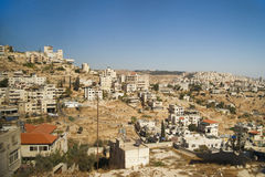 Neighbourhoods of Bethlehem on hill under clear sky Royalty Free Stock Images