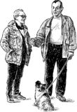 The neighbours strolling with a dog and conversation. Sketch of senior men standing and talking stock illustration