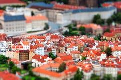 Neigung-Schiebeminiatureffekt des Prag-Stadtbilds lizenzfreies stockbild