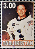 Neil Armstrong. A stamp printed in Tajikistan shows Neil Armstrong Stock Photography