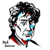 Neil Gaiman Portrait stock illustrationer