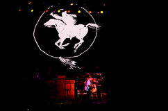 Neil Young och den galna hästen bor Royaltyfri Fotografi