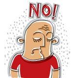 Nein Illustration einer deprimierten Person, die unten schaut Bunter Dr. Lizenzfreies Stockbild