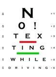 Nein! Texting beim Antreiben des Augen-Diagramms lizenzfreie stockbilder