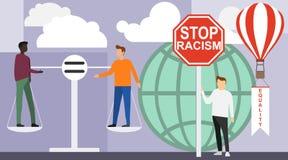 Nein zum Rassismus Afrikanisch und europäisch seien Sie auf der Balance von Gewichten Es gibt kein Geschlecht oder sexuelle Diskr stock abbildung