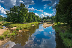 Neisse river. Polish border river Neisse in Leknica town Stock Photography