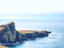 Neist与灯塔的点半岛是一个非常被拍摄的地方 库存图片
