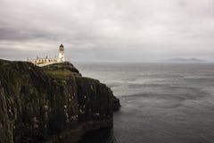 Neist在斯凯岛小岛的点灯塔  免版税库存图片