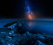 Neist Point Lighthouse And Stars In Isle Of Skye, Scotland