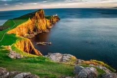 The Neist point lighthouse at dusk, Scotland, UK. Europe Stock Photos