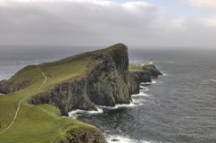 Neist Point lighthouse in Isle of Skye, Scotland stock photos