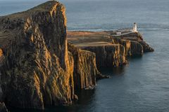 Neist Point Lighthouse near Glendale on the West Coast of the Is stock images