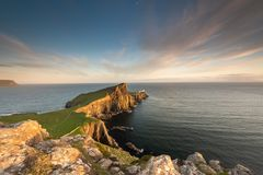 Neist Point Lighthouse near Glendale on the West Coast of the Is stock photography