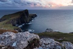 Neist Point lighthouse at sundown royalty free stock photos