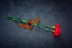 Nejlikablommor och George Ribbon Royaltyfri Fotografi