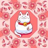 Neko de Maneki et fleurs de Sakura Image libre de droits