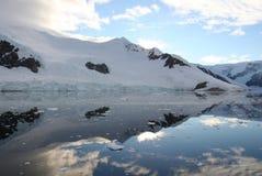 Neko harbor, antarctica. Early morning reflections in the icy neko harbor, antarctica Stock Photos