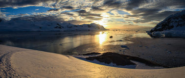 Neko Harbor Sunset Panorama, Antarctica. Neko Harbor is an inlet on the Antarctic Peninsula on Andvord Bay, situated on the west coast of Graham Land. Neko Royalty Free Stock Photo