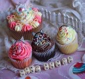 Neko style cupcakes cat ears cute food fence miniature dollhouse Royalty Free Stock Photo