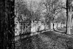 Nekropol Gdansk Zaspa, Polen Konstnärlig blick i svart och whit Royaltyfri Fotografi