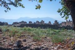 Nekropolis Hierapolis antycznego miasta widok, fethiye, mugla, indyk obraz stock
