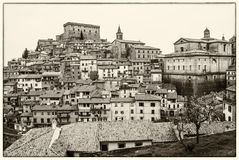Nel Cimino de Soriano en noir et blanc Photo libre de droits