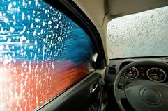 Nel lavaggio di automobile Fotografie Stock