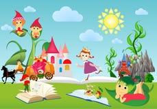 Nel mondo dei libri e delle fiabe, libro, illustrazione vettoriale