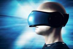 Nel mondo di realtà virtuale Cuffia avricolare d'uso degli occhiali di protezione dell'uomo illustrazione vettoriale