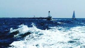 Nel risveglio della barca - retrovisione fotografia stock libera da diritti