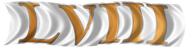 Nel vento che fluttua la bandiera con il numero romano LVIII, octo e Immagini Stock Libere da Diritti