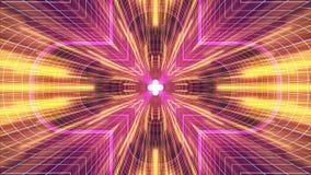 Nel volo con VR cancelli l'animazione cyber dei grafici di moto dell'interfaccia di HUD del tunnel delle luci gialle BLU al neon  royalty illustrazione gratis