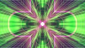 Nel volo con VR cancelli l'animazione cyber dei grafici di moto dell'interfaccia di HUD del tunnel delle luci verde BLU al neon d illustrazione di stock