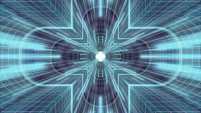 Nel volo con VR cancelli l'animazione cyber dei grafici di moto dell'interfaccia di HUD del tunnel di griglia delle luci PORPORA  illustrazione vettoriale