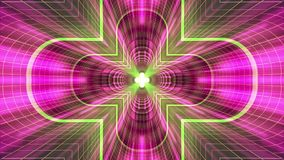 Nel volo con VR cancelli l'animazione cyber dei grafici di moto dell'interfaccia di HUD del tunnel di griglia delle luci ROSSE al royalty illustrazione gratis