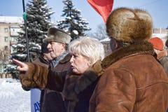 Nelia Shtepa Sloviansk Mayor, op een vergadering van Communisten in Royalty-vrije Stock Afbeelding
