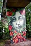 Nell'ambito dei graffiti del ponte Immagini Stock Libere da Diritti