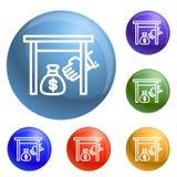 Nell'ambito del vettore dell'insieme delle icone della borsa dell'indennità di rappresentanza illustrazione di stock