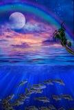 Nell'ambito dell'illustrazione dei tropici dell'acqua illustrazione di stock