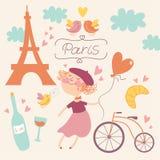Nell'amore con l'insieme di vettore di Parigi Fotografie Stock Libere da Diritti