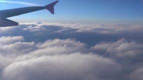 Nell'aria, vista della siluetta dell'ala di aereo con l'orizzonte blu scuro del cielo stock footage