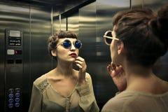 Nell'elevatore Immagini Stock